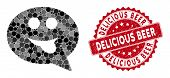 Mosaic Tongue Smiley Message And Rubber Stamp Seal With Delicious Beer Text. Mosaic Vector Is Formed poster