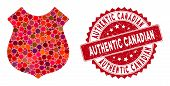 Mosaic Police Shield And Rubber Stamp Watermark With Authentic Canadian Phrase. Mosaic Vector Is Des poster