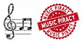 Mosaic Musical Notation And Rubber Stamp Seal With Music Piracy Text. Mosaic Vector Is Composed With poster