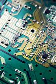 Electronic Circuit Board With Electronic Components Such As Chips Close Up. The Concept Of The Elect poster