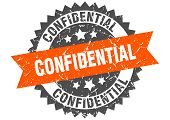 Confidential Grunge Stamp With Orange Band. Confidential poster