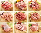 picture of shoulder-blade  - Various types of pork and beef meats on cutting boards - JPG