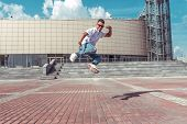 Young And Active Dancer Dancing In Jump, Sport Man, Summer City, Break-dancer Pose, Hip-hop Movement poster