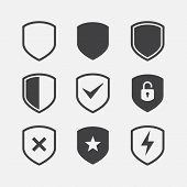 Simple Security Icon Set, Shield Icon Set, Vector Simple Shield Icon Set, Filled Flat Sign, Protecti poster