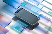 Modern Mobile Phone With Blank Screen On Glossy And Matte Squares Background. 3d Rendering. Side Vie poster