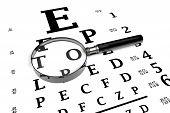 stock photo of snellen chart  - Closeup magnifier glass over Eye Testing Chart - JPG