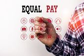 Conceptual Hand Writing Showing Equal Pay. Business Photo Text Rights That Individuals In The Same W poster