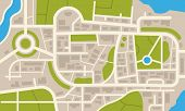 City Navigation Map. Flat Plan Of Streets Parks And River With Top View, Simple Cartoon City Map. Ve poster