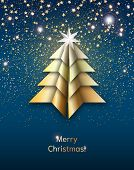 Origami Christmas Tree With Stardust On Dark Blue Sky, Illustration poster