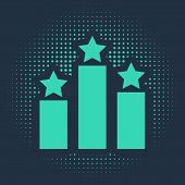 Green Ranking Star Icon Isolated On Blue Background. Star Rating System. Favorite, Best Rating, Awar poster