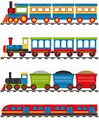 Cartoon Train With Carriages. A Cartoon Railway With A Locomotive And Wagons. Vector Illustration Of poster