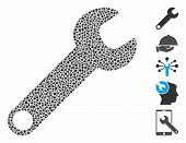Wrench Icon Mosaic Of Rugged Items In Various Sizes And Color Tones, Based On Wrench Icon. Vector Ru poster