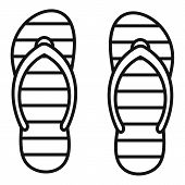 Beach Slippers Icon. Outline Beach Slippers Vector Icon For Web Design Isolated On White Background poster