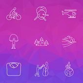 Entertainment Icons Line Style Set With Diet, Copter, Jumping Rope And Other Tourism Elements. Isola poster
