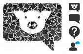 Pig Message Icon Composition Of Abrupt Items In Various Sizes And Shades, Based On Pig Message Icon. poster