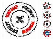 Roulette Icon Mosaic Of Irregular Items In Variable Sizes And Color Hues, Based On Roulette Icon. Ve poster