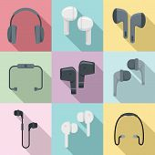 Wireless Earbuds Icons Set. Flat Set Of Wireless Earbuds Vector Icons For Web Design poster