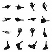 Comic Gesture Hand Vector Black Icon Set.vector Isolated Illustration Wrist Gesture In Glove.icon Se poster