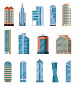 Flat Skyscrapers. Modern City Tall Buildings. Residential And Office Houses Exterior. Apartment Bloc poster