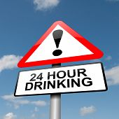 image of underage  - Illustration depicting a road traffic sign with a 24 hour drinking concept - JPG
