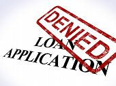 stock photo of denied  - Loan Application Denied Stamp Showing Credit Rejected - JPG