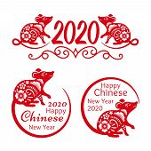 Rat New Year 2020 Signs. Traditional Chinese New Year 2020 Mascot Funny Red Rat Symbols Isolated On  poster