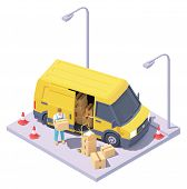Vector Isometric Courier With Parcels And Delivery Van. Express Mail Courier Delivery Services. Yell poster