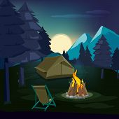 Night Campfire. Wooden Landscape With Tent And Fireplace With Big Burned Flame Lighting Outdoor Vect poster