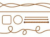 Realistic Ropes. Yellow Or Brown Curved Nautical Ropes With Knots Vector Template. Rope Curve, Bound poster