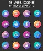 E-commerce Icon Set. E-commerce Web Icons On Round Trendy Gradients poster
