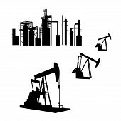 stock photo of crude-oil  - Isolated silhouettes of an oil refinery and oil wells is original artwork - JPG