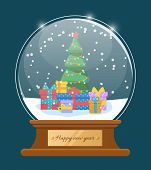 Greeting Card Happy New Year With Glossy Snowball. Snowflakes On Fir-tree And Present Box In Glass B poster