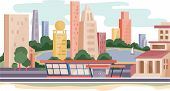 Landscape Of A Fashionable New City With Skyscrapers And Skyscrapers, poster