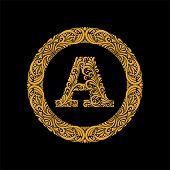 Premium, Elegant Capital Letter A In A Round Frame Is Made Of Floral Ornament. Baroque Style.elegant poster