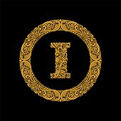 Premium, Elegant Capital Letter I In A Round Frame Is Made Of Floral Ornament. Baroque Style.elegant poster