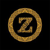 Premium, Elegant Capital Letter Z In A Round Frame Is Made Of Floral Ornament. Baroque Style.elegant poster