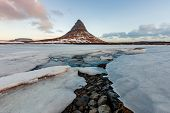 Famous Mountain With Waterfalls In Iceland, Aurora Borealis, Night, Kirkjufell, Winter In Iceland, I poster