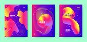 Pink Dj Flyer. Electronic Music. Colorful Minimal Pattern. Blue 3d Fluid Design. Purple Dj Layout. E poster