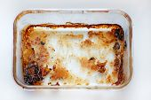 Rectangular Glass Baking Dish Top View. Dirty Meat Baking Dish. An Empty Tray Made Of Heat Resistant poster