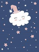 Sweet Dreams. White Fluffy Smiling Cloud On A Light Blue Background. Cute Cloud In A Funny Pink Hat. poster