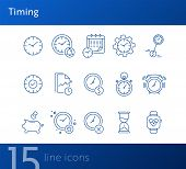 Timing Line Icon Set. Clock, Watch, Gear, Calendar. Time Concept. Can Be Used For Topics Like Time L poster