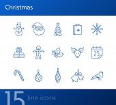 Christmas Thin Line Icon Set. Snowman, Gingerbread, Santa Claus Sign Pack. Winter Holidays Concept.  poster
