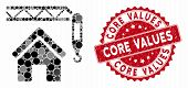 Mosaic Home Construction And Corroded Stamp Seal With Core Values Phrase. Mosaic Vector Is Formed Wi poster