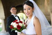 pic of wedding couple  - A beautiful bride and handsome groom at church during wedding - JPG