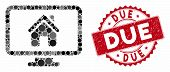 Mosaic Realty Monitoring And Rubber Stamp Seal With Due Phrase. Mosaic Vector Is Designed With Realt poster