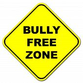 foto of disrespect  - Yellow Bully free zone road sign on a white background - JPG