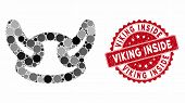 Mosaic Viking Helmet And Rubber Stamp Seal With Viking Inside Phrase. Mosaic Vector Is Composed With poster