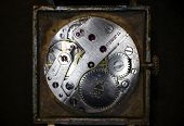 Old Clock Mechanism Close-up. Vintage Mechanical Watch. Macro Image. poster