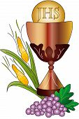 pic of eucharist  - illustration of first communion in white background - JPG