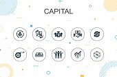 Capital Trendy Infographic Template. Thin Line Design With Dividends, Money, Investment, Success Ico poster